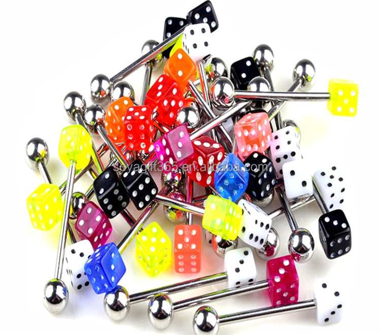 100Pcs/lot 5mm Dice Lip Ear Bone Chin Tongue Body Piercing