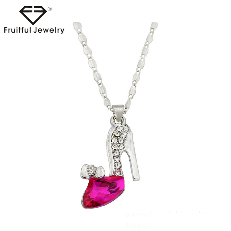 NKEL competitive products metal Necklace Cinderella dream red blue yellow pink colorful crystal shoes pendant