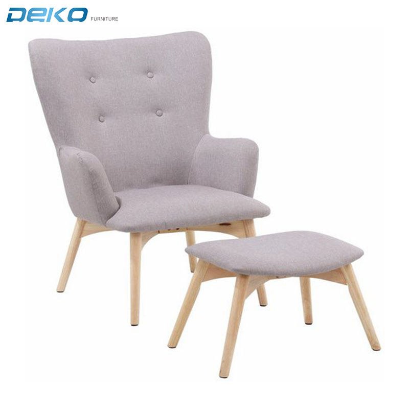 Best selling fabric lounge chair with footstool tufted armchair