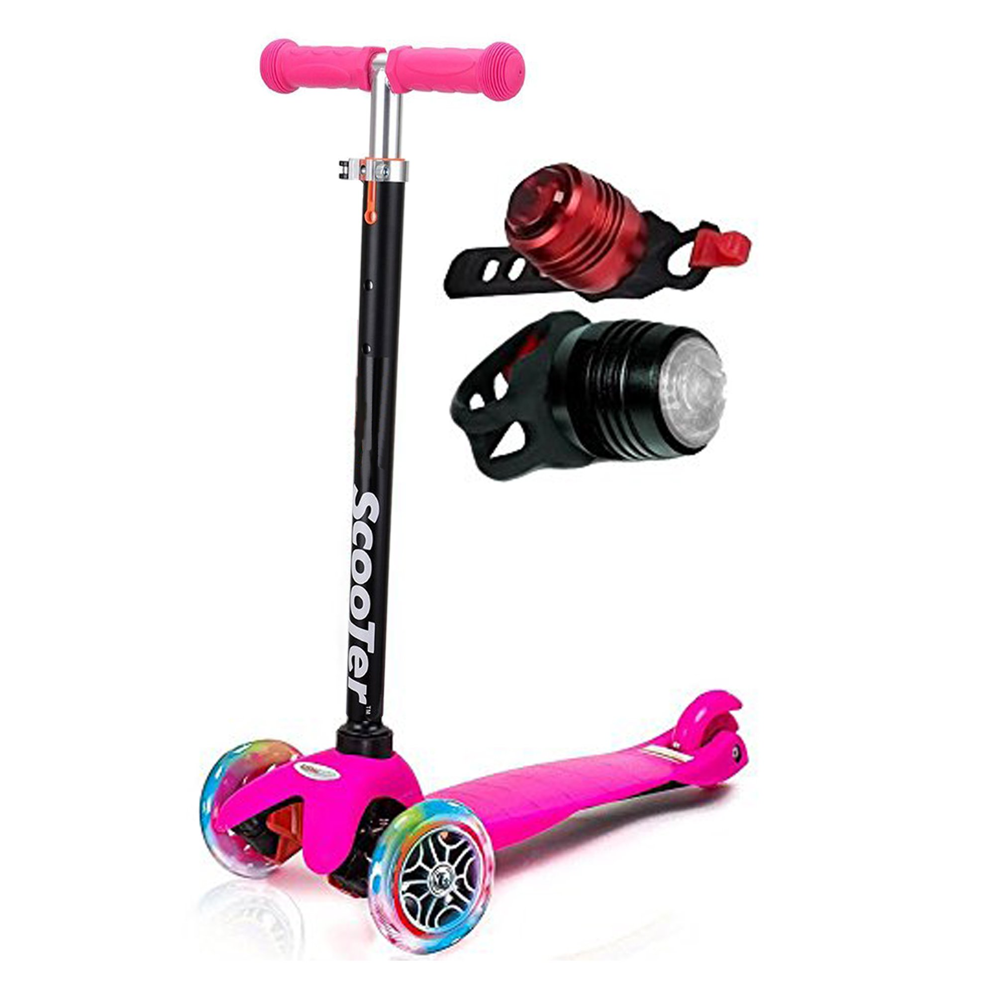 Toysery Scooter for Kids 3 Wheel Adjustable Height Mini Kick Scooter with LED Light Up Wheels 44lb (3 wheels in total - 2 at the front and 1 at the back) Pink Color