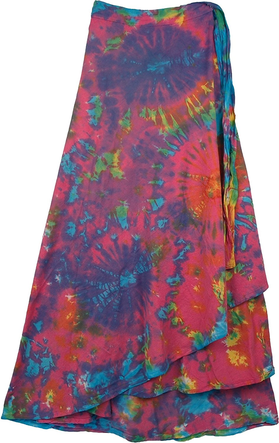 "TLB Killarney Tie Dye Wrap Around Long Skirt - Blue Tie Dye - L: 37""; W: Free Size"