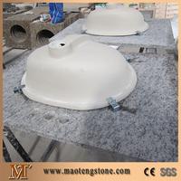 Single Ceramic Sink Bowl Attached Brown Granite Vanity Top