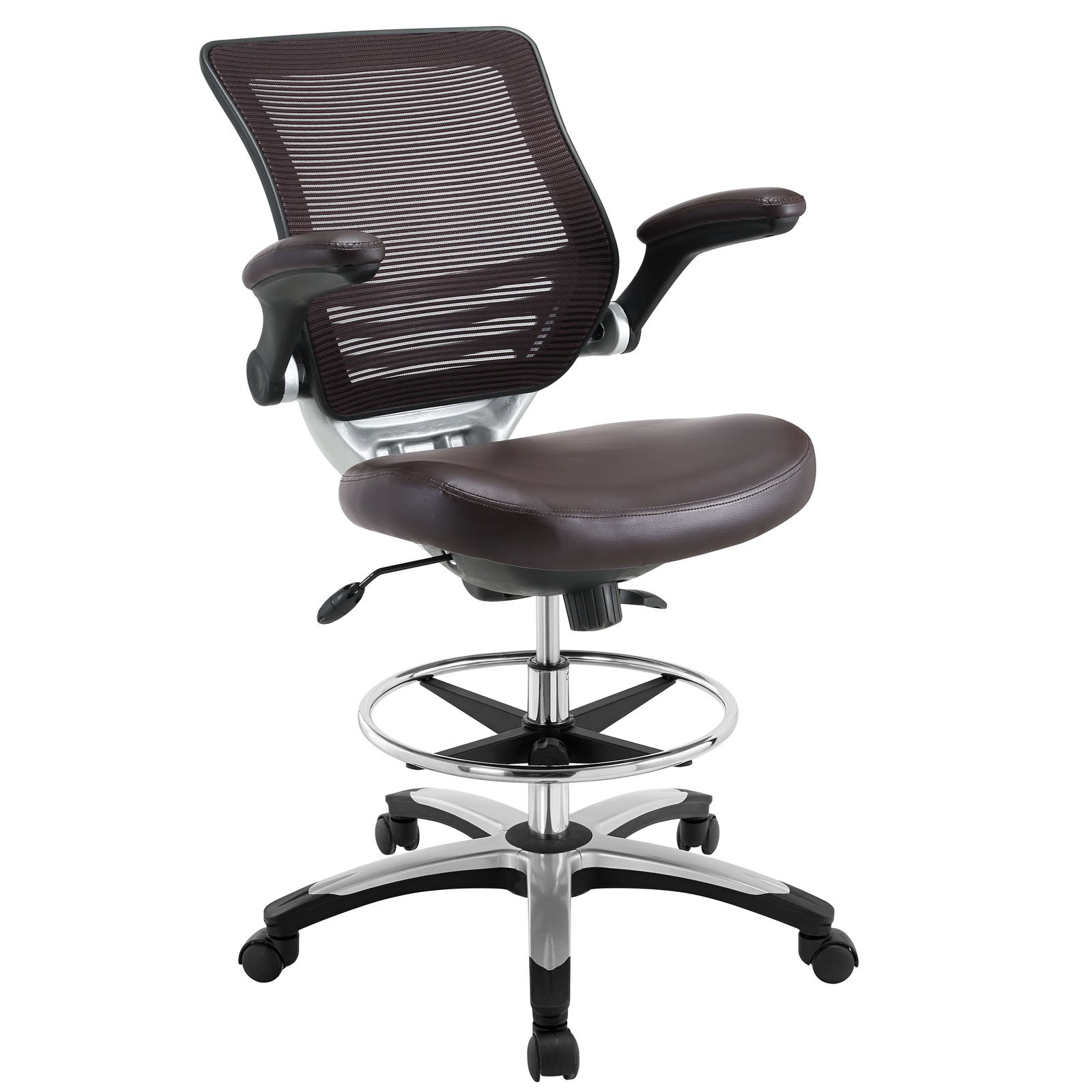 Modway Edge Drafting Chair In Brown Vinyl - Reception Desk Chair - Tall Office Chair For Adjustable Standing Desks - Flip-Up Arm Drafting Table Chair