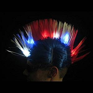 Patriotic LED Mohawk Hair Great for Political Conventions & National Holidays!