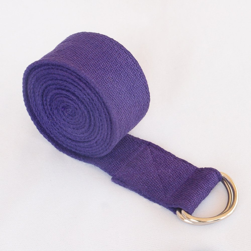 HealthAndYoga(TM) Yoga Straps - Superior Non-stretch Cotton Twill with Metal D-rings Buckle | 6' and 8' Length (8' Purple)