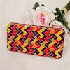 Colored Mosaic Pattern Canvas Flat Frame Clutch Wallet For Women