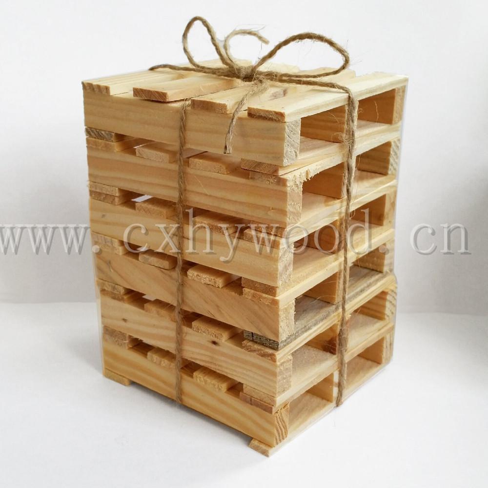 Small Wooden Desktop Pallet For Cups Pine Wood Mini Pallet