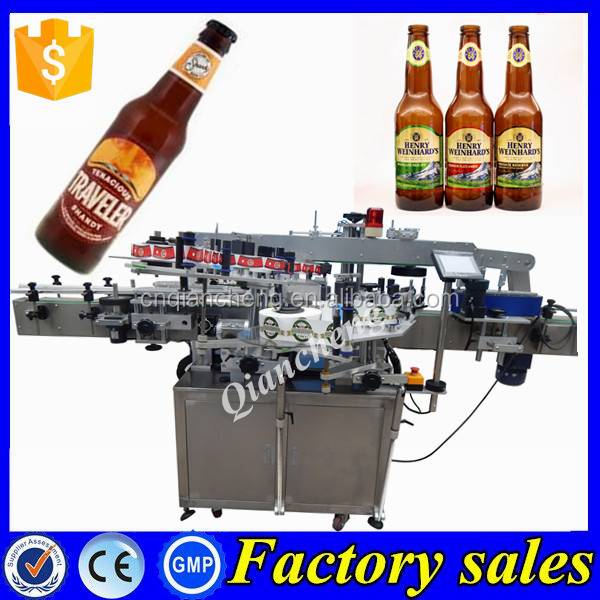 Shanghai three sides labeling machine,sticker labeling machine beer bottle