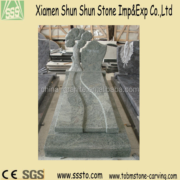 Hand Carved Grey Granite Headstone with Trees