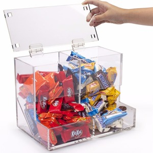 retail store clear acrylic candy bar display bins/dispensers/containers with 2 slots