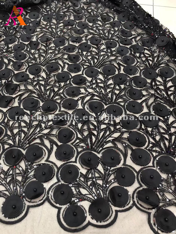 Gorgeous 3D circle satin pattern beaded lace for evening grown dress