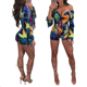 Hot Sale Ladies Knitted Deep V Neck Shorts Leaves Printed Women Jumpsuit Long Sleeve Jumpsuit Sexy