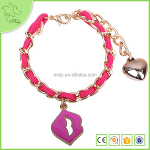 Fancy Retro Sexy Mouth Heart Charm Design Gold Chain Bracelet For Girls