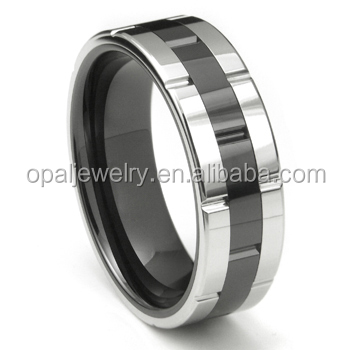 Hot Selling Black Rhodium Plated Band Rings Set CZ, US Size 5#~11# Tungsten Rings