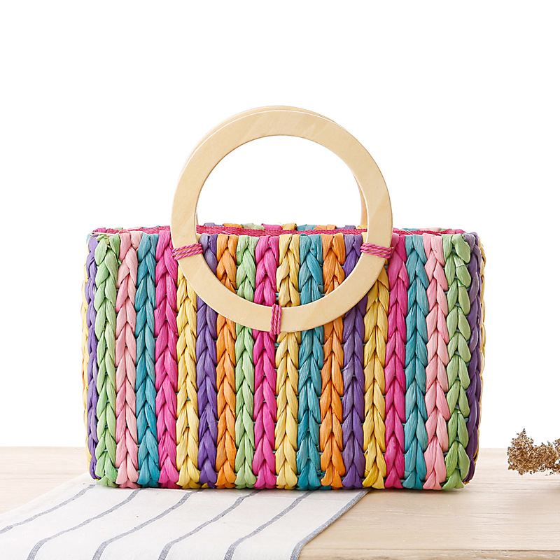 Get Quotations · 2015 Limited New Arrival Casual Tote Totes Faux Fur Two  Bolsa Bag Manufacturers Selling Rainbow Hand 75be95d9cb039