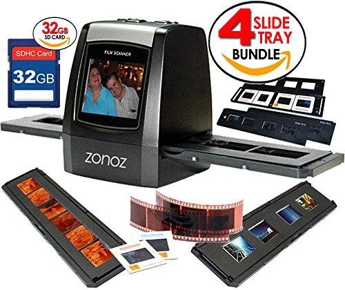zonoz FS-ONE 22MP Ultra High-Resolution 35mm Negative Film & Slide Digital Converter Scanner w/ TV Cable, (1) Negative, (4) Slide Trays, 32GB SD Card & Worldwide Voltage 110V/240V AC Adapter (Bundle)