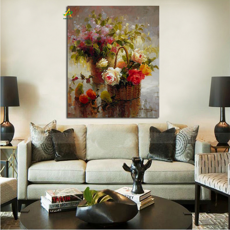 Beautiful flower basket oil painting framed high quality wall art painting wholesale