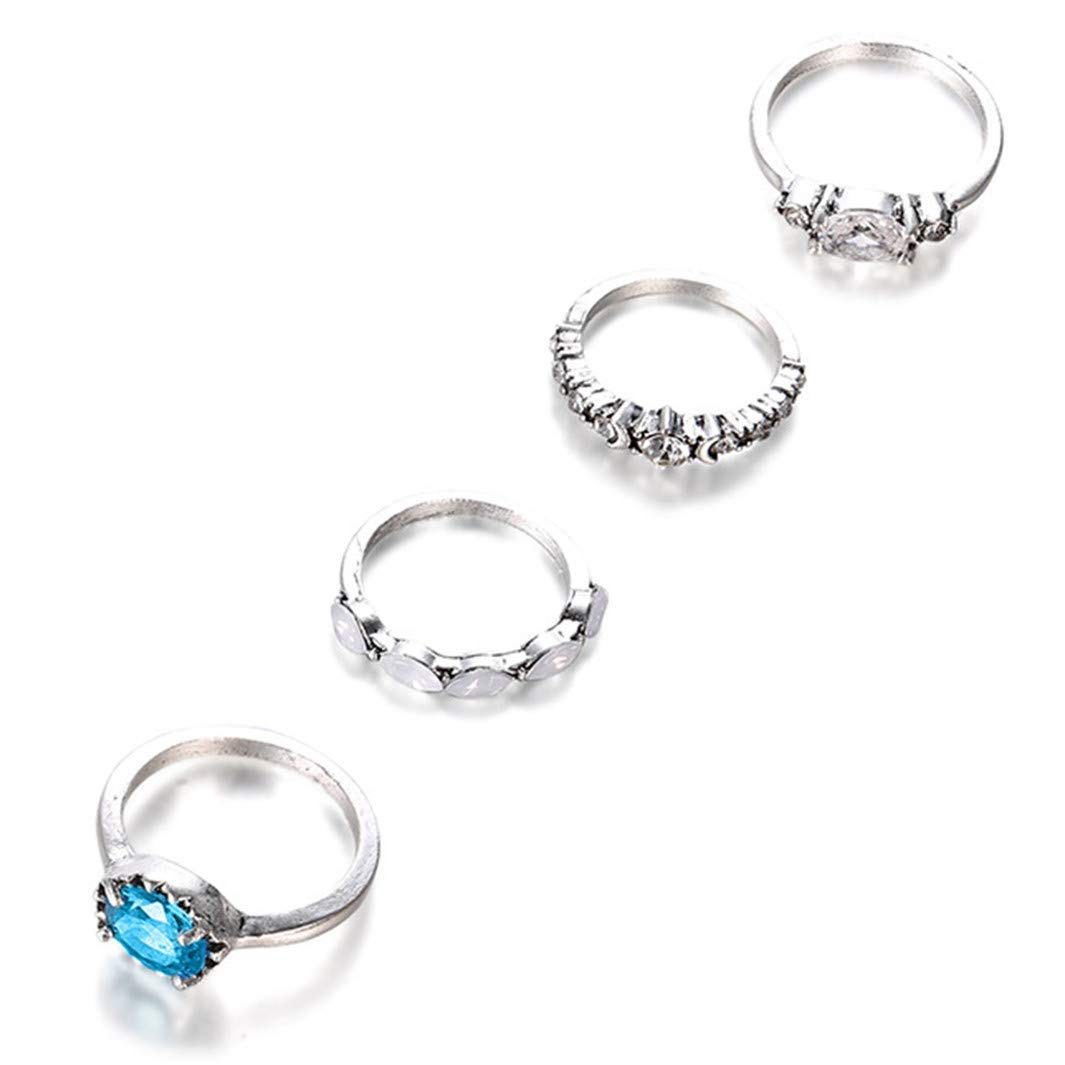 YouCY 4 Pcs/set Ring Set Simple Stackable Knuckle Midi Rings Rhinestone Joint Knuckle Nail Midi Ring Set For Women