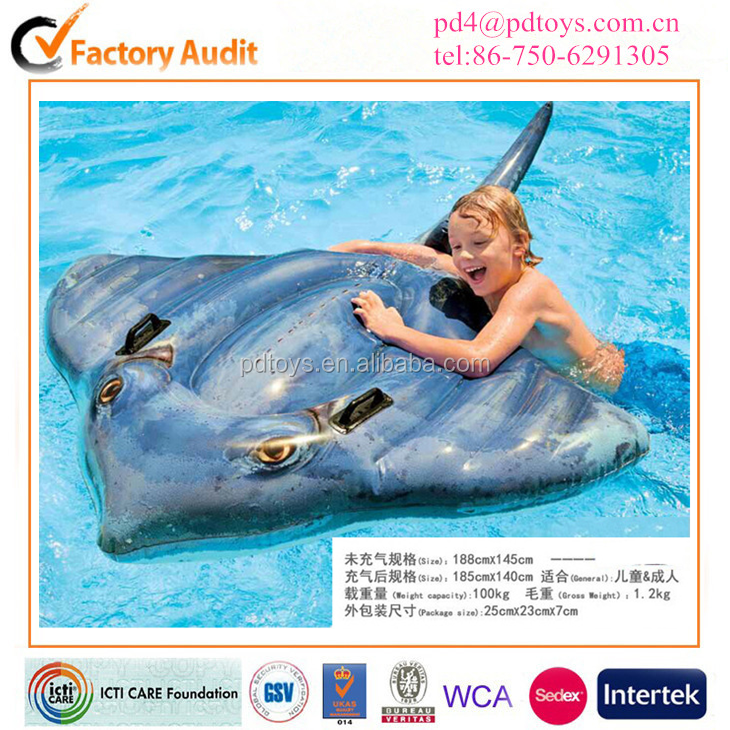 High quality Inflatable Rider Swimming raie Pool Beach Float Ride On Toy