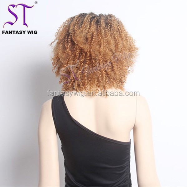 Brazilian Black Women Fashion Synthetic kinky curly u part wig