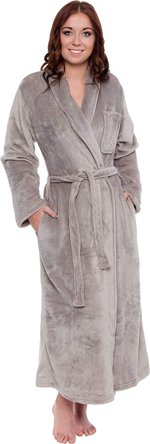 Silver Lilly Lightweight Full Length Kimono Robe for Women - Plush Comfy Long Bathrobe (Sizes Small - Plus Size XXL)