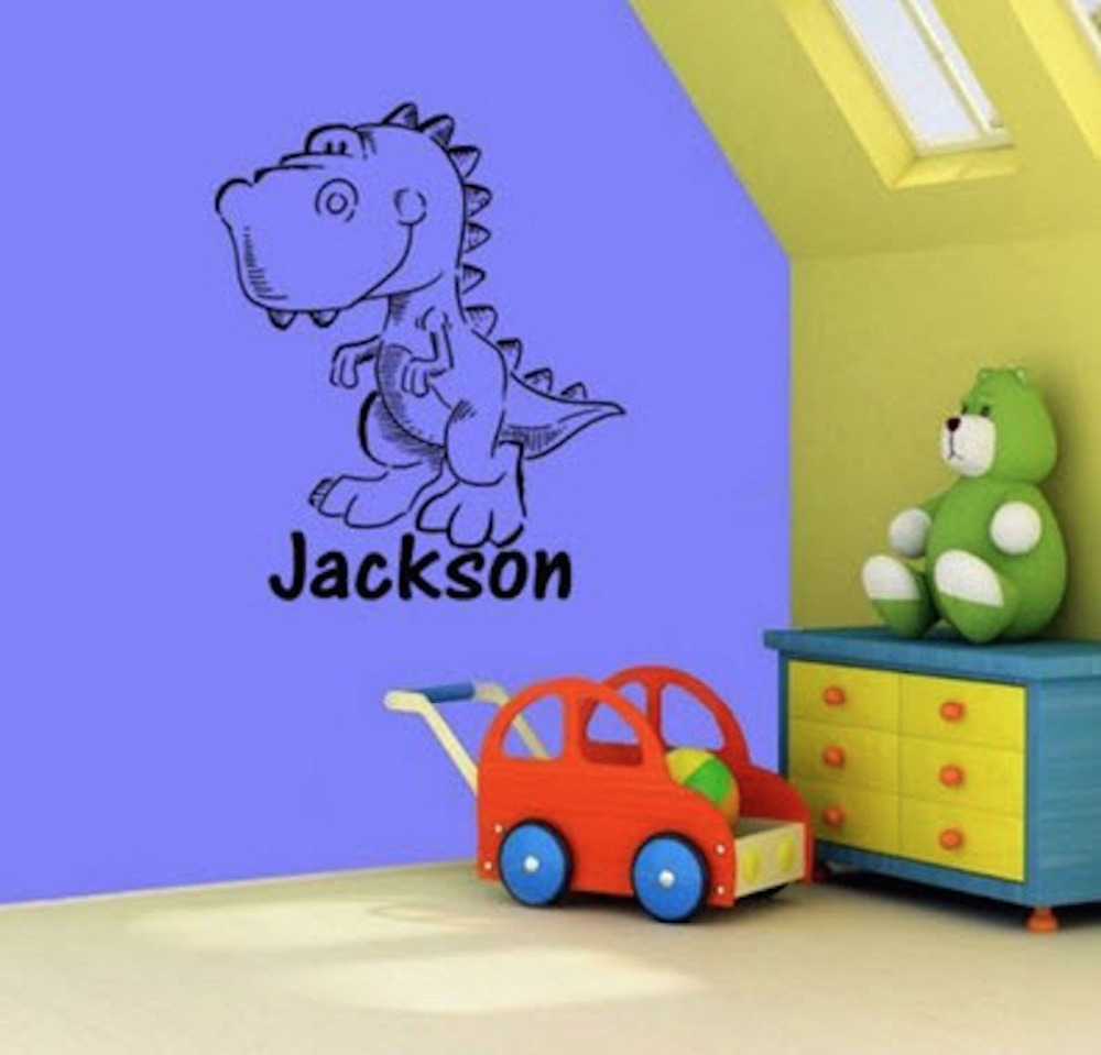 Personalised Any Name Dinosaur Kids Bedroom Wall Stickers Vinyl Decal Decor 71cmx58cm