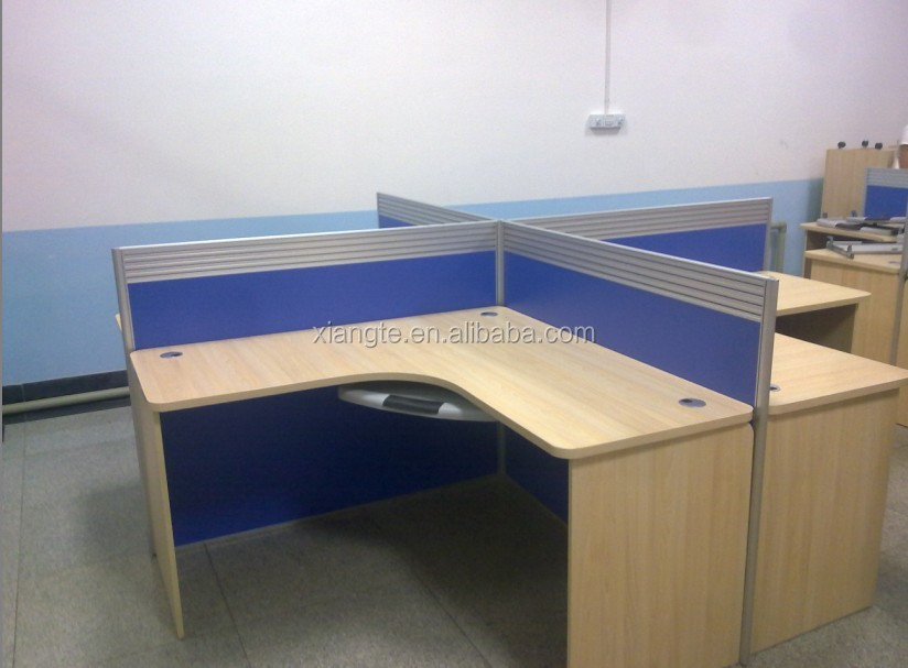 High Quality Customized 4 Person Wooden Office Staff Table Design Mdf Desk With