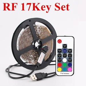 China LED Strip 2835 5050 RGB TV Background Christmas Lighting Kit Cut-table with 17Key RF Controller 1M/2M Set,Waterproof
