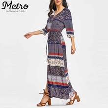 Women Chic Plus Size Long Sleeve Boho Maxi Dress