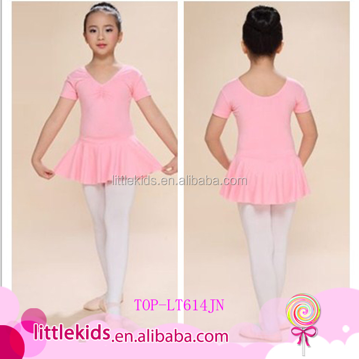 Kids Girls Short Sleeve Ballet Leotard Unitard with Chiffon Skirt 6 Sizes