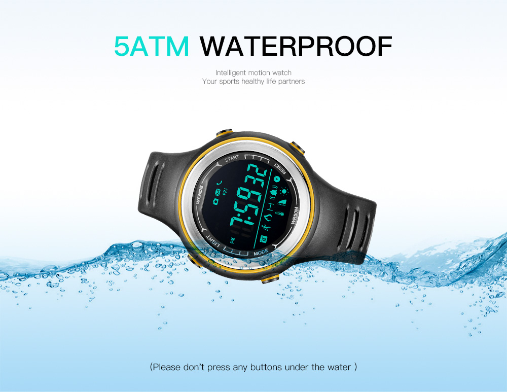 New Arrival Weide Unisex Sport Smart Watch Bluetooth Remote Camera 50 Meters Waterproof Smartwatch 2018