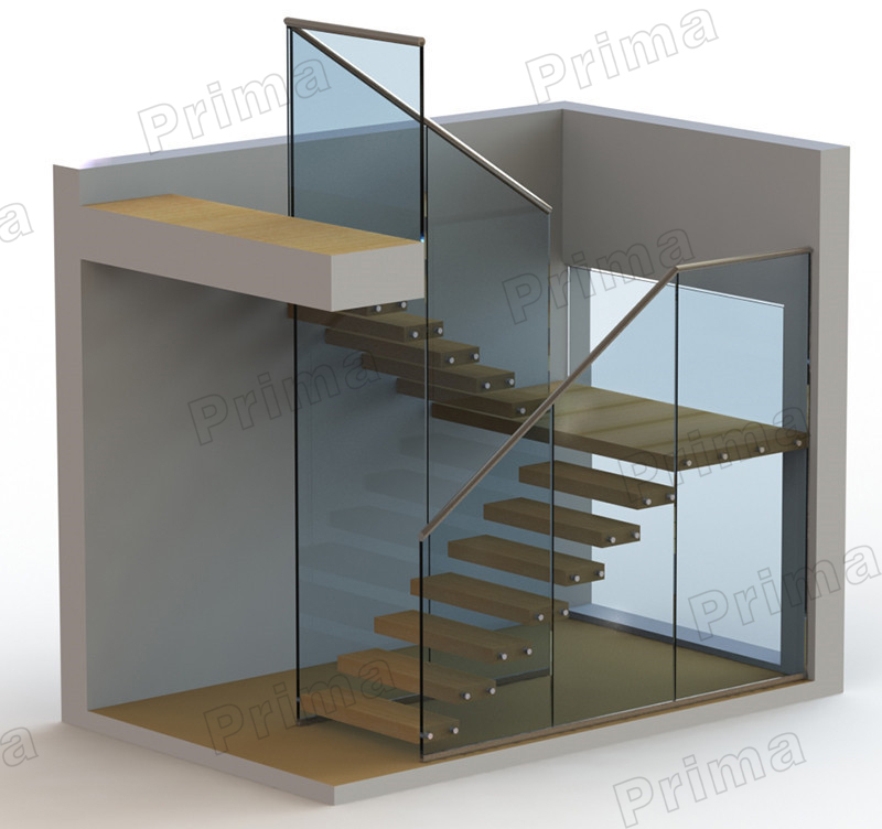 Strong Laminated Glass Treads Staircase Aluminum Base Channel ...