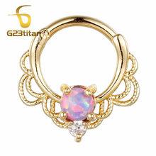 G23titan опал кольца перегородка трюк для носа Ушная перегородка пирсинг ювелирные изделия G23 титановый полюс циркон покрытие родия(China)