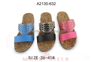 Low price TPU decorate PVC upper cork sole shoes women