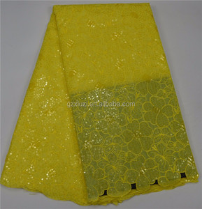 Summer Sales Clothing Lace Sequin Fabric Yellow Mesh Sequin Embroidery Fabric XZ346439b