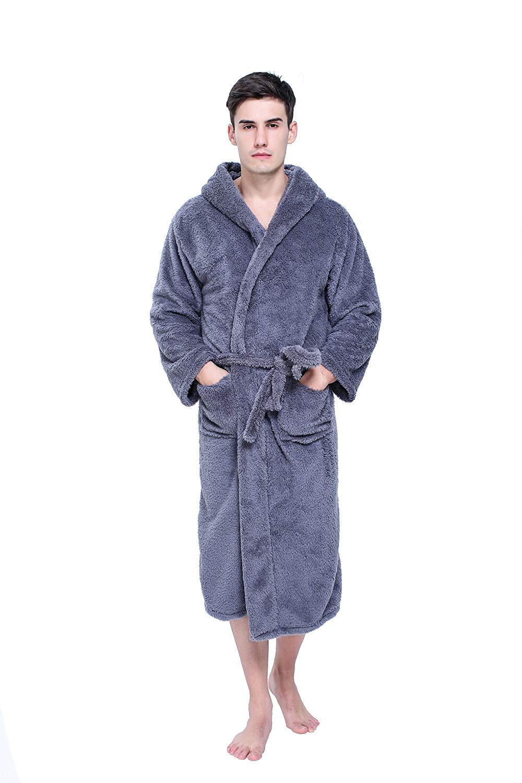 ac0f4351f1 Get Quotations · CheerLin Mens Bathrobe Plus Sized Plush Coral Fleece  Kimono Robe with Hood S-XXL