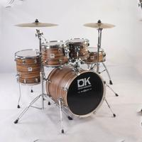 5 pieces drum instrument brown wood color in discount price acustic drum set