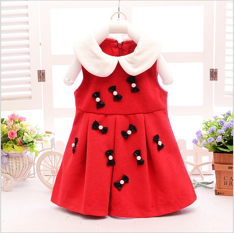 2015 hot style fall and winter clothing little girls bow dress woolen material princess dress baby casual wear baby clothes