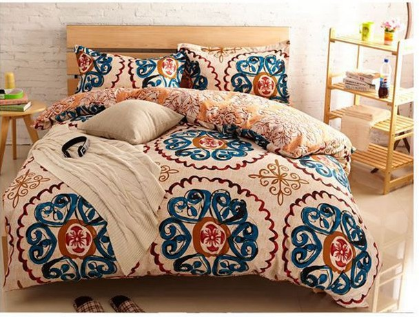 Yellow Blue Vintage Bedding Comforter Sets King Queen Size