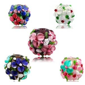 16mm 2.5mm Hole Rondelle Multicolored Bumpy Dots Lampwork Glass Beads