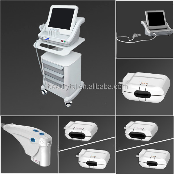 Vertical 8mm 13mm smas ultrasound hifu face lift high intensity focused ultrasound machine / 5 heads portable body hifu machine