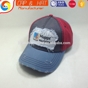 Washed And Distressed Baseball Cap With Embroidery Patch