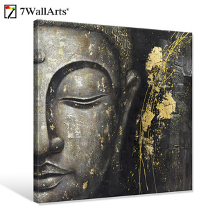 Seven Wall Arts 100% Handmade Painting Artwork Abstract Buddha Oil Painting on Canvas for Living Room