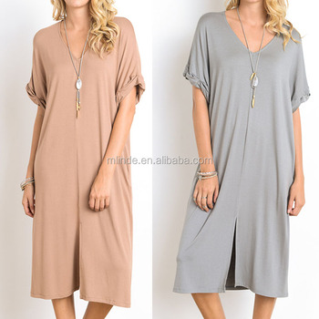 Dress Women Front Slit V Neck Rolled Up 95% Rayon 5% Spandex Short Sleeve Womens Clothes Dress Fashionable