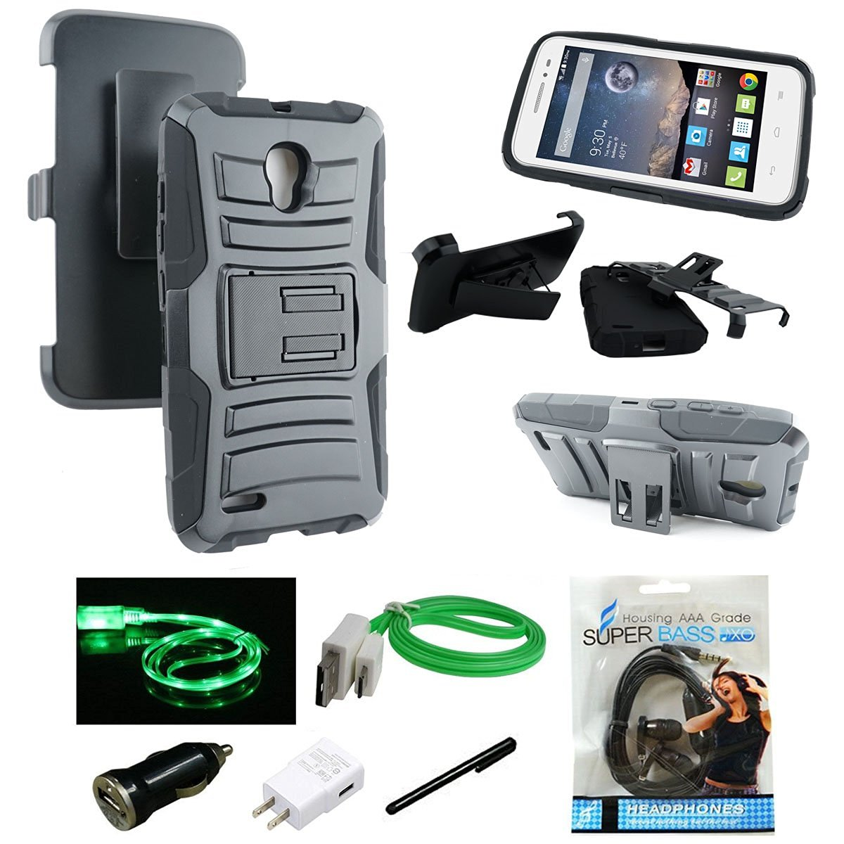 One Touch Pop Icon 2 LTE Case, Mstechcorp - Alcatel One Touch Pop Icon 2 LTE A846L Heavy Duty Hybrid Armor Dual Layer Kickstand Belt Clip Holster Rugged Case - Includes Accessories (Holster Black)