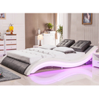modern king /queen size black and white leather soft bed new fashionable soft bedroom with LED speaker