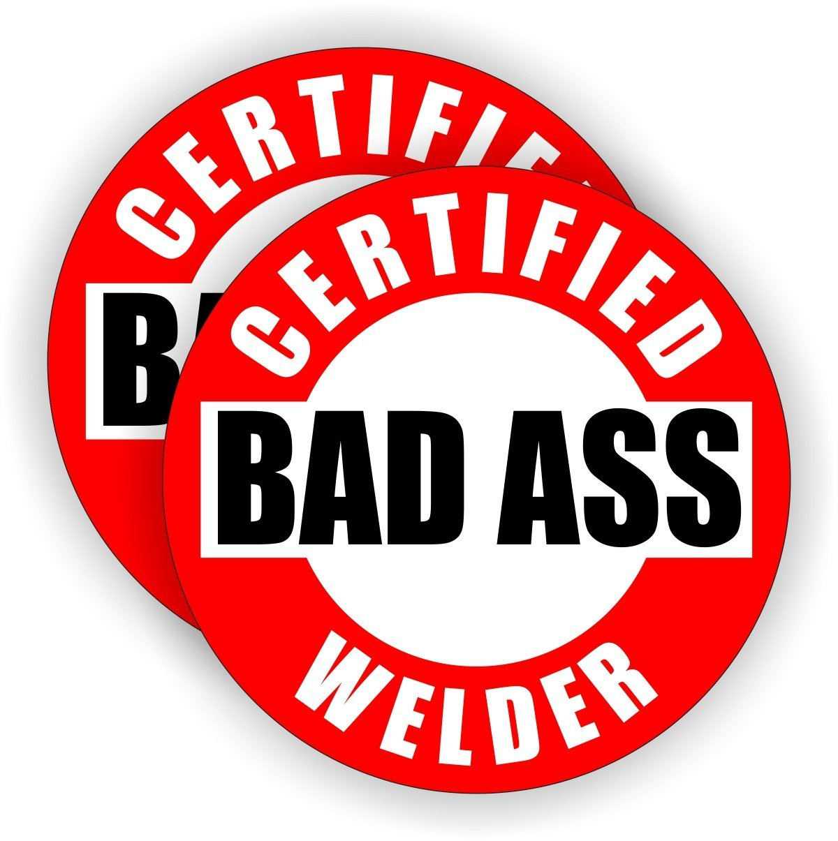 (Pair) Bad Ass Welder Hard Hat Stickers | Motorcycle Welding Helmet Decals | Labels Lunch Toolbox Mig Tig Metal Aluminum Stick
