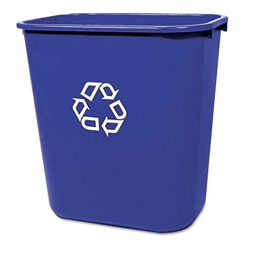 Rubbermaid Commercial Medium Deskside Recycling Container, Rectangular, Plastic, 28 1/8qt, Blue - one recycling container.