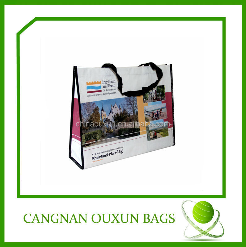 eco friendly laminated pp woven black and white stripe shopping bags