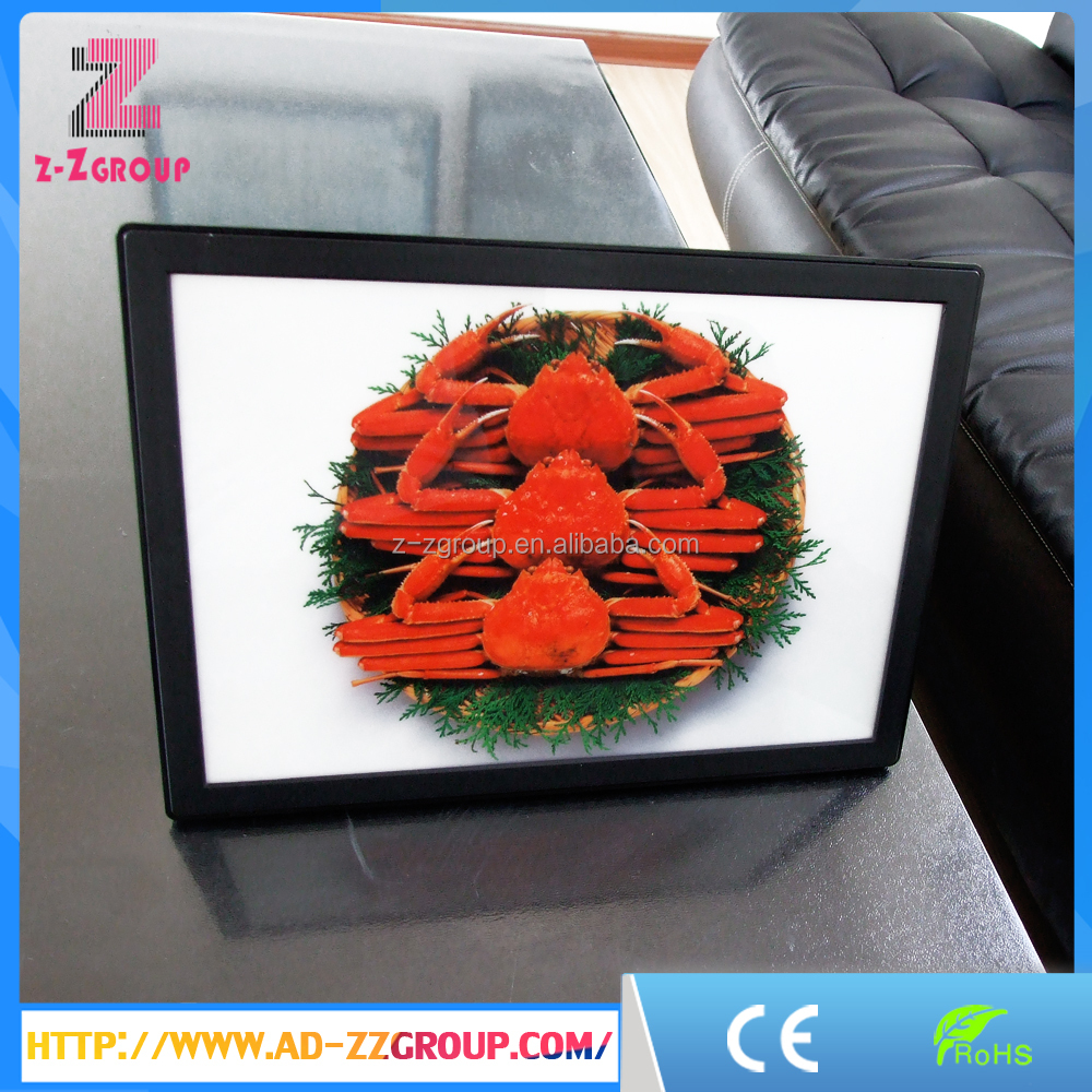 ABS injection plastic menu advertising slim led light box with round corner
